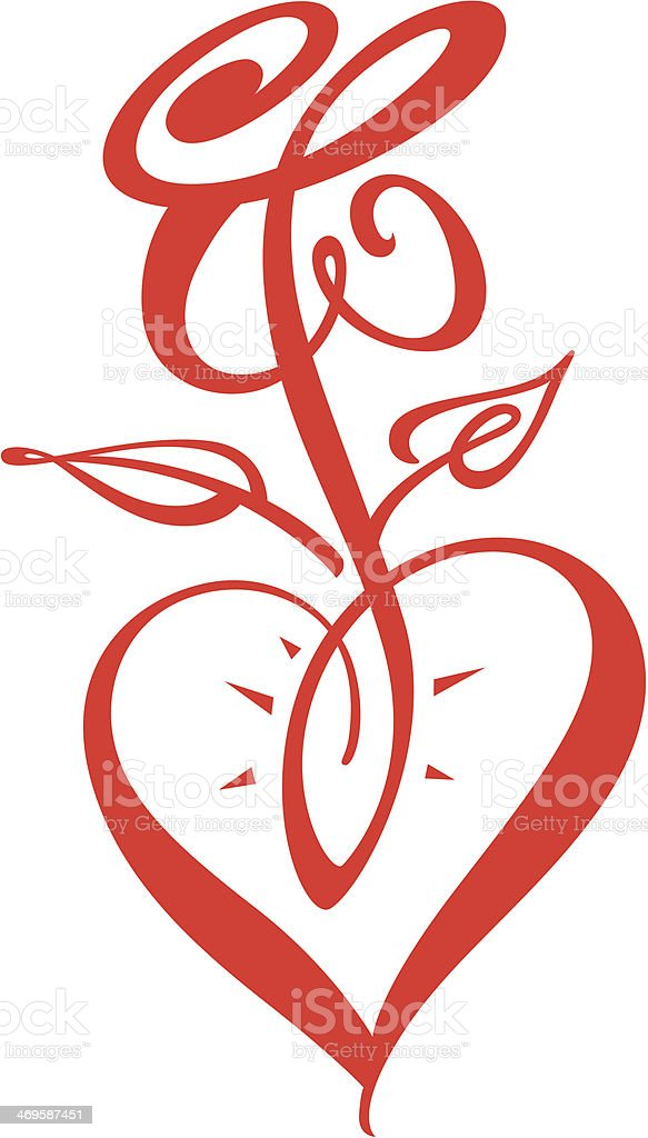 Heart and Rose royalty-free stock vector art