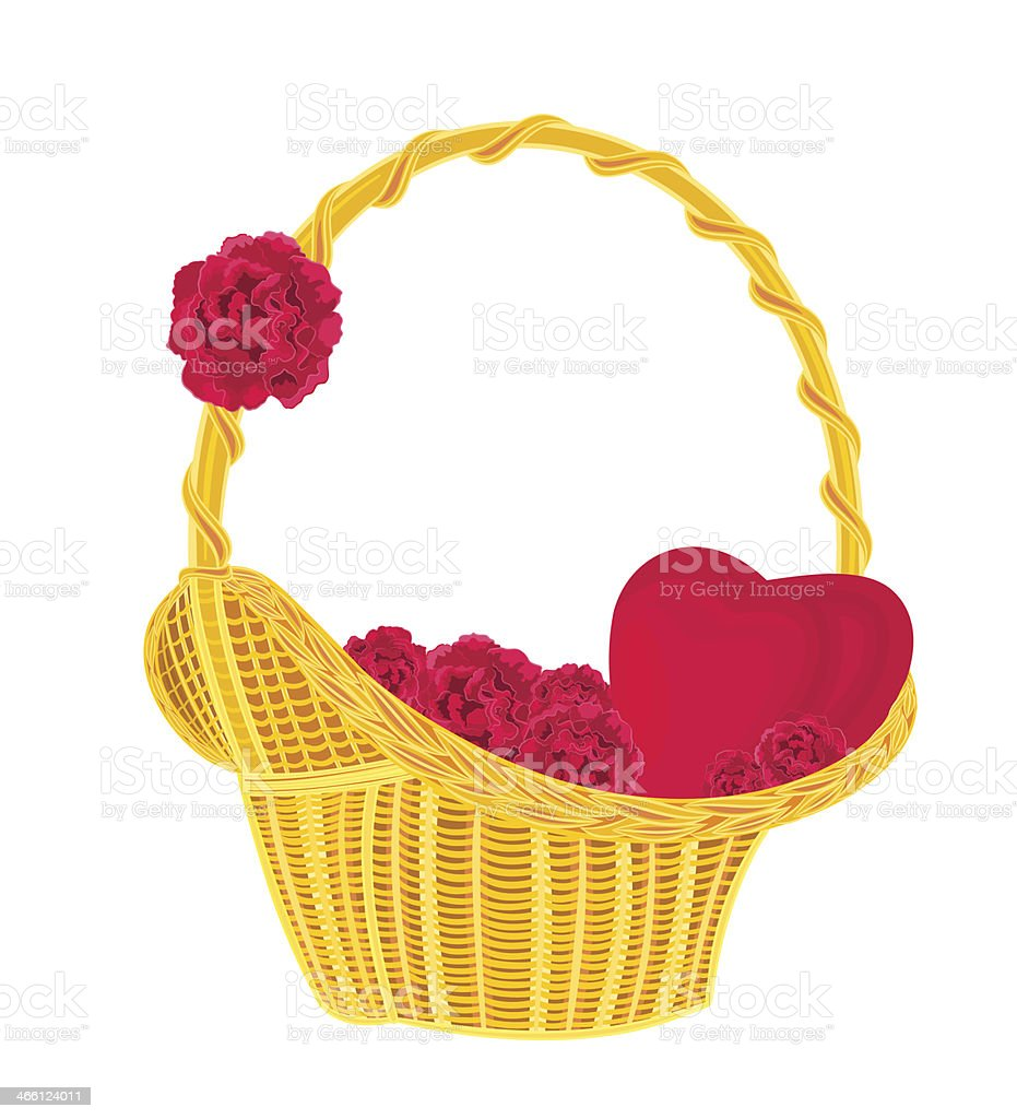 Heart and roses in a basket royalty-free stock vector art