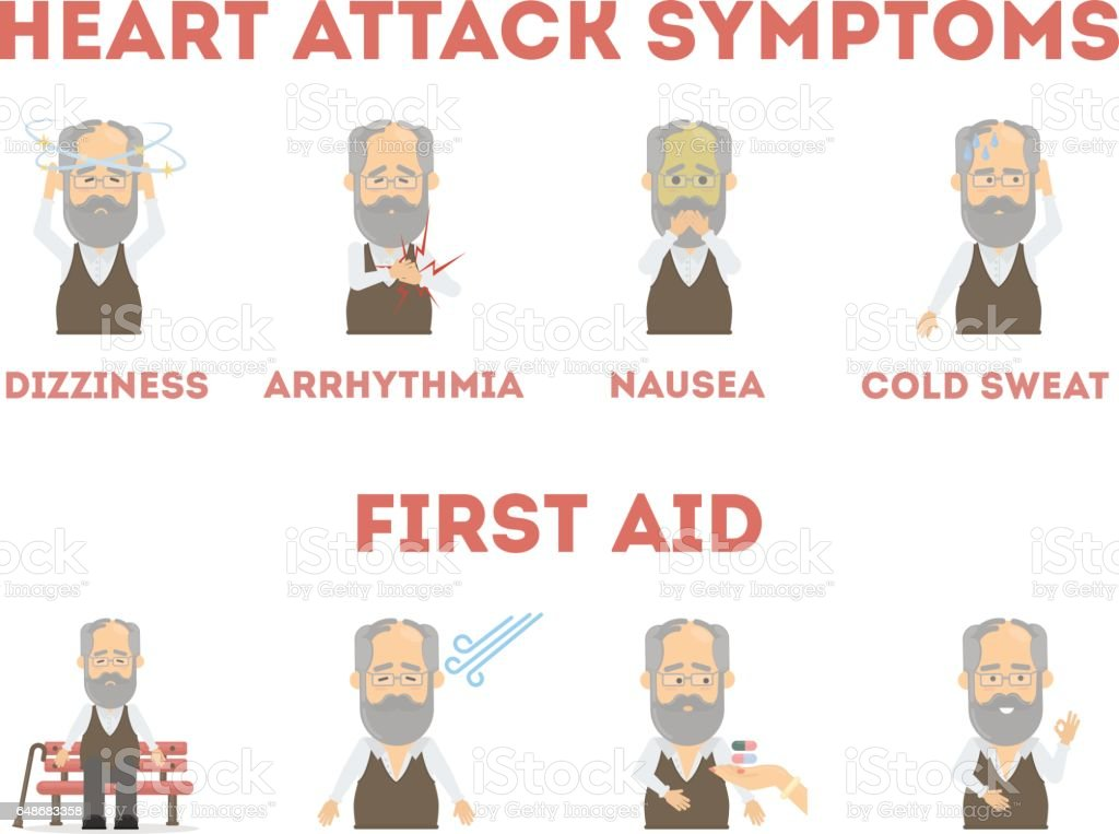 Heart attack infographic on white background. vector art illustration