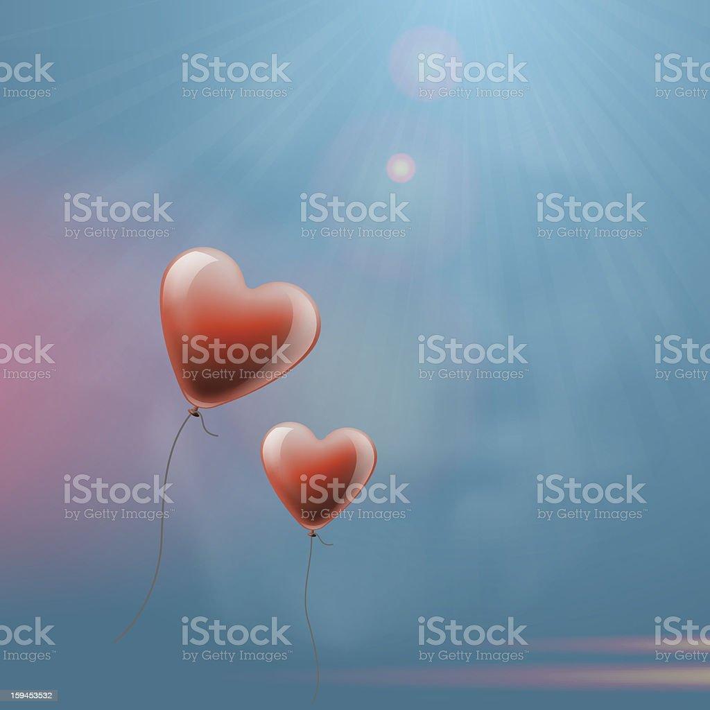 Heart balloons in the sky royalty-free stock vector art