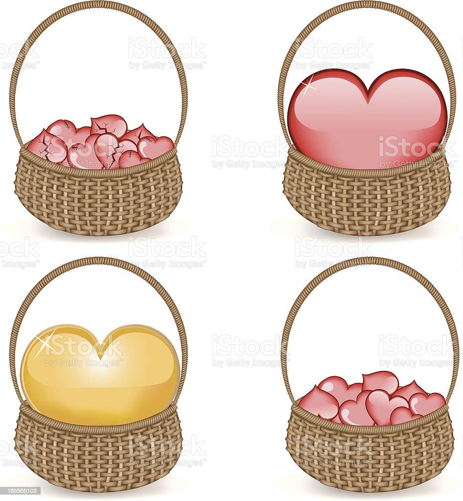 Heart Baskets royalty-free stock vector art