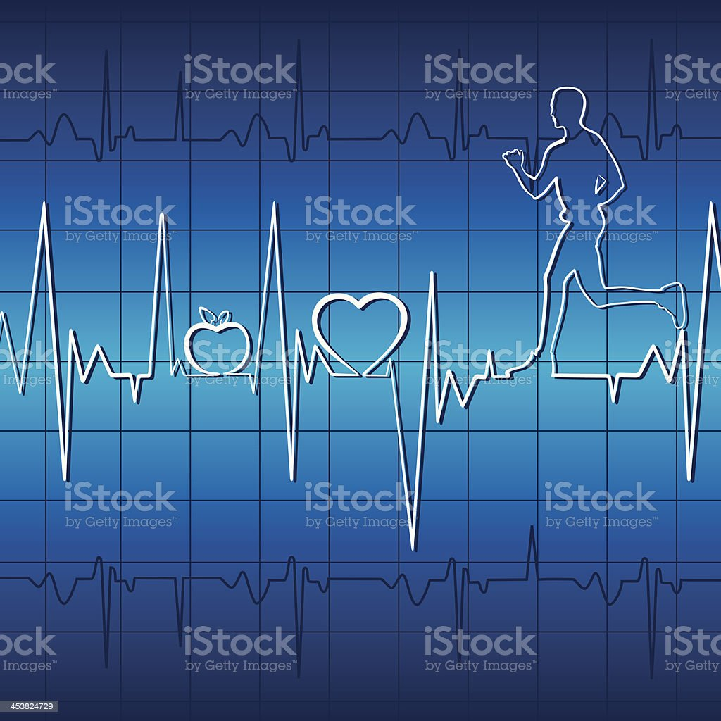 heart beat and run men royalty-free stock vector art