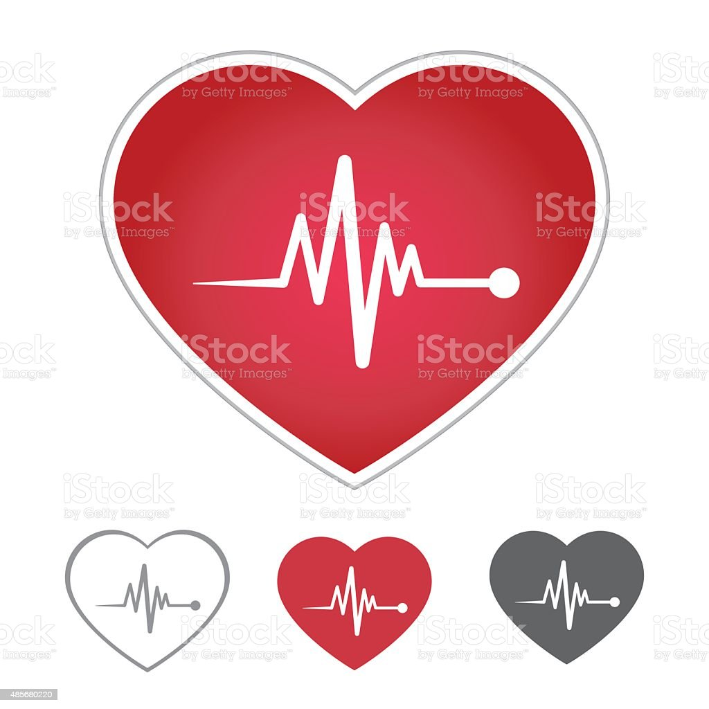 Heart beat icon in red heart vector art illustration