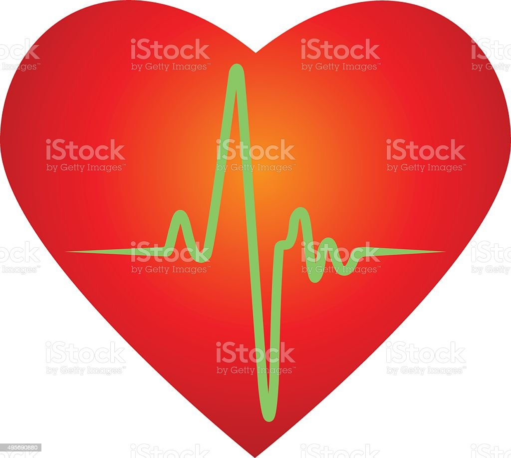 Heart beat rate icon vector art illustration