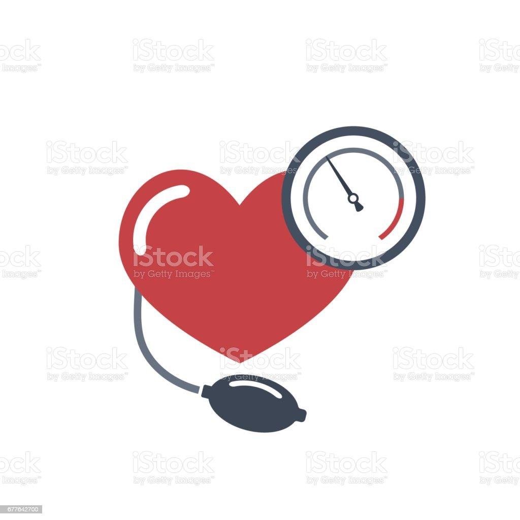 Heart, blood pressure measuring. vector art illustration