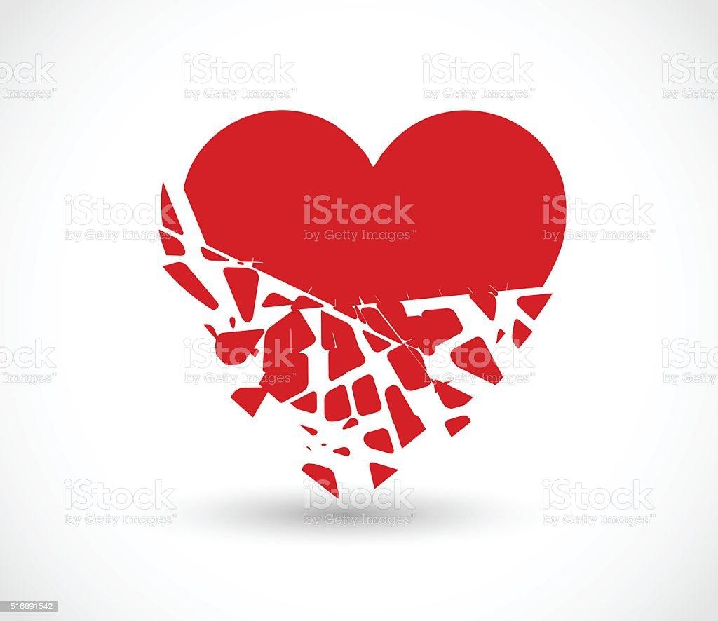 Heart breaking into pieces icon vector illustration vector art illustration
