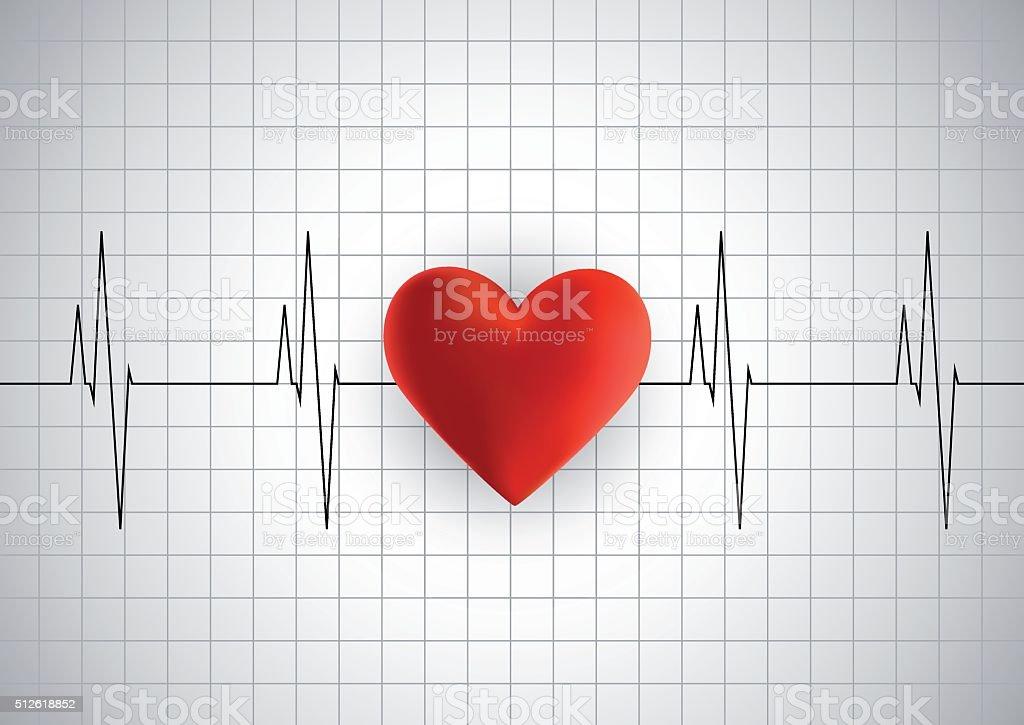 Heart cardiogram vector art illustration