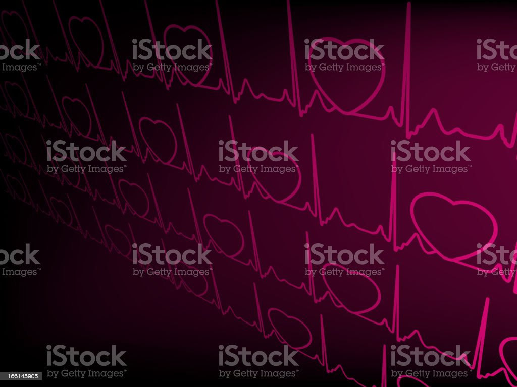 Heart cardiogram with shadow on purple. EPS 8 royalty-free stock vector art