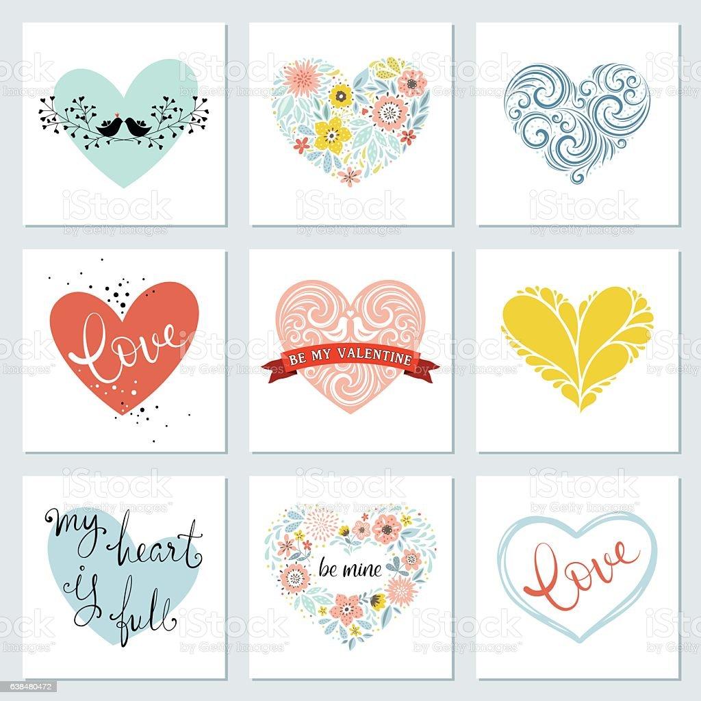 Heart Cards Set vector art illustration