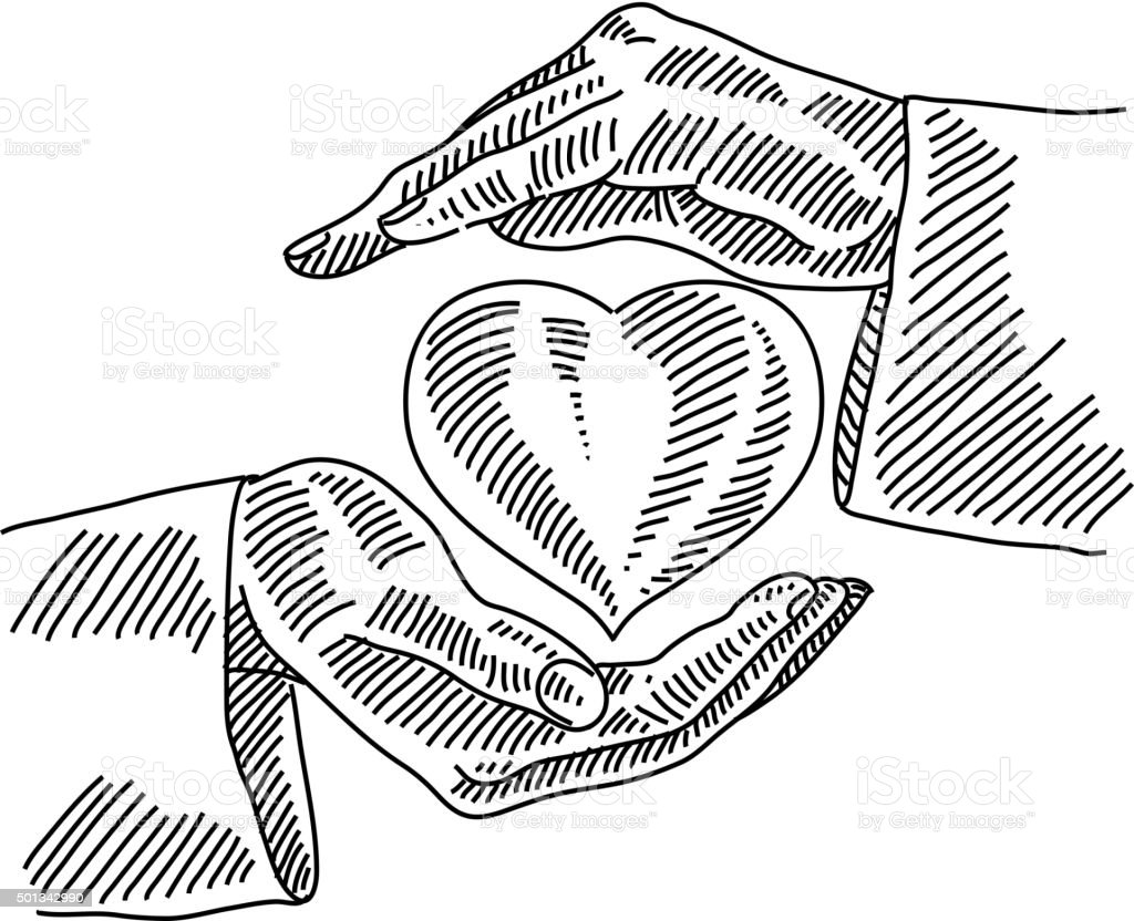 Heart Care Drawing vector art illustration