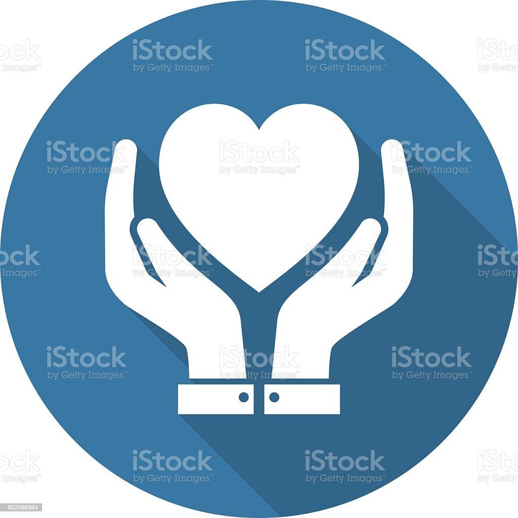 Heart Care Icon. Flat Design. vector art illustration