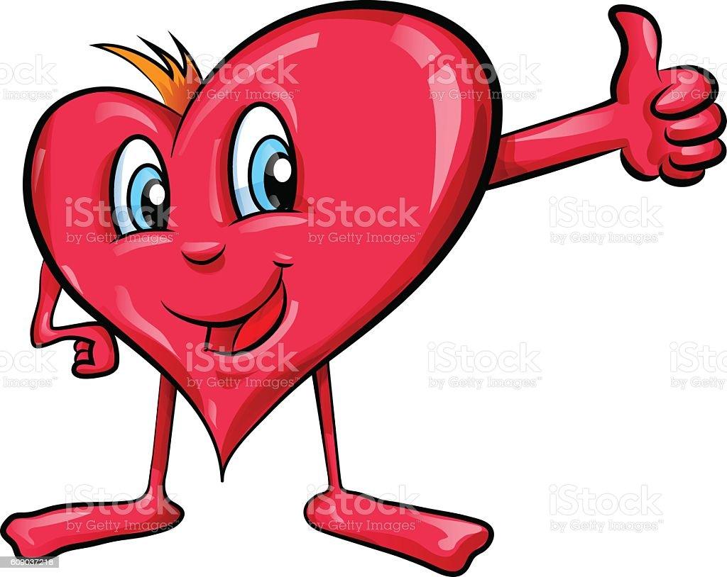 heart cartoon with  thumbs up vector art illustration