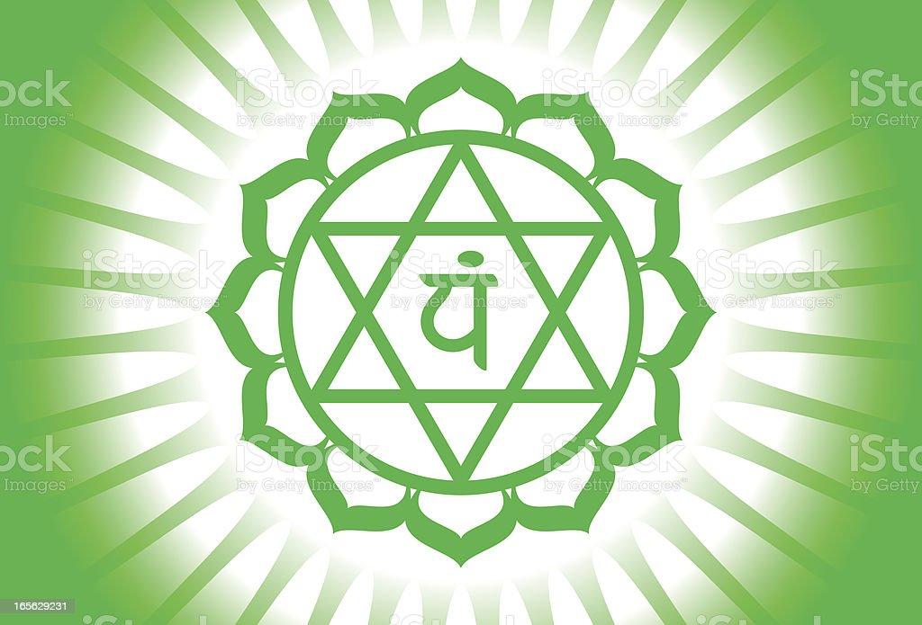 Heart chakra (anahata) shining royalty-free stock vector art