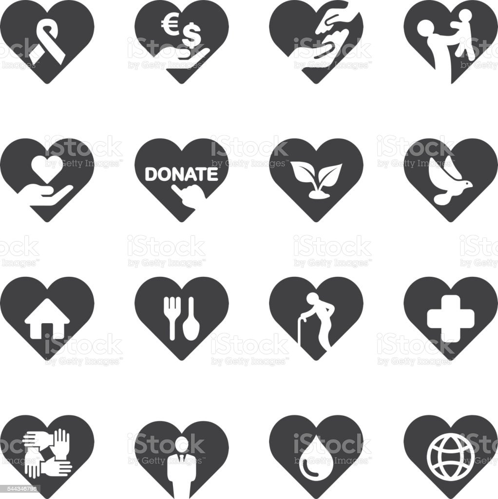 Heart Charity and Relief Work Icons | EPS10 stock photo