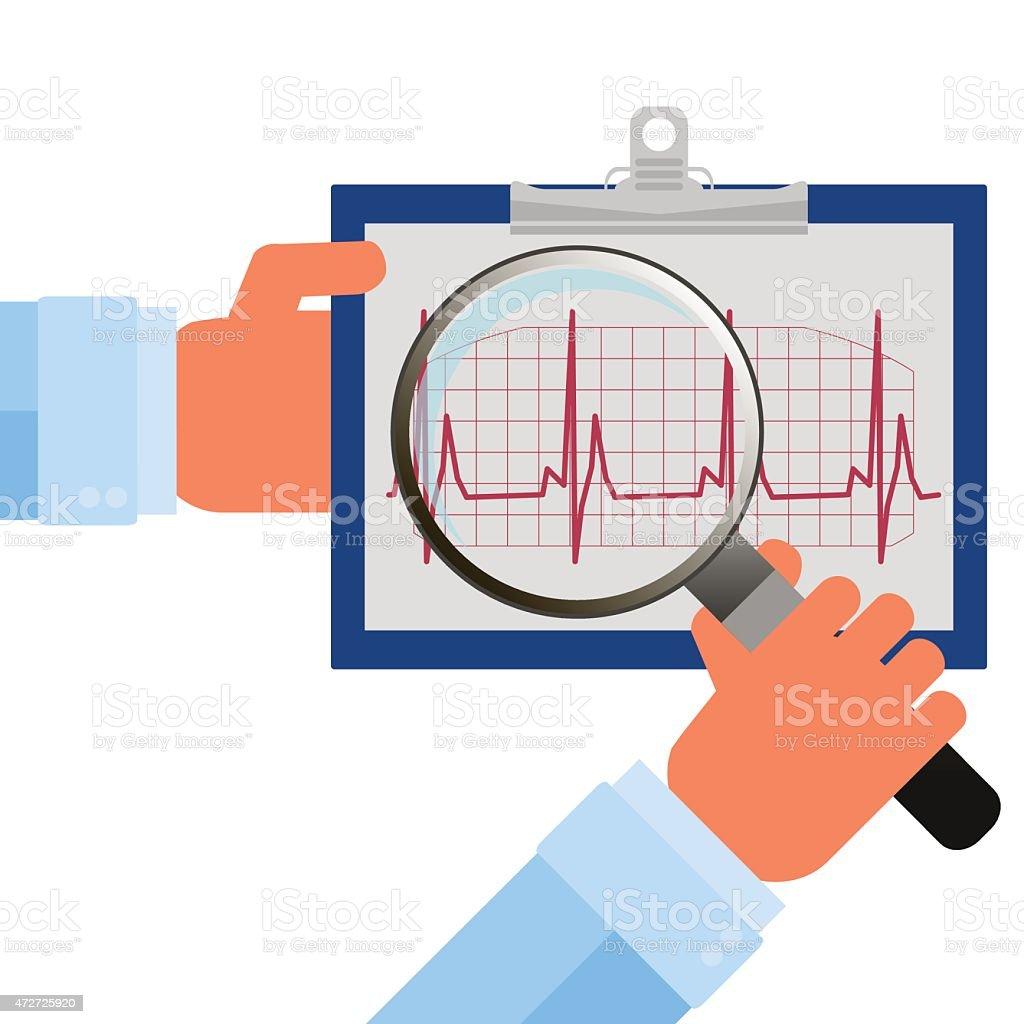 Heart checkup, magnifying glass on an ecg diagram vector art illustration
