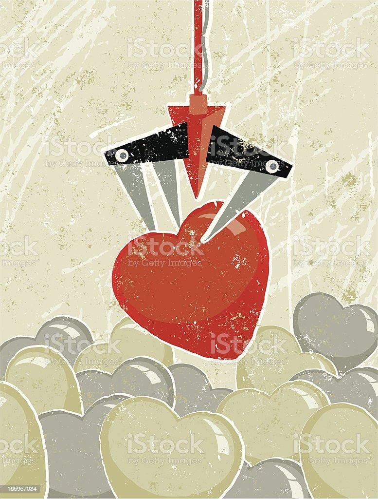 Heart Chosen by a Claw Crane Arcade Game royalty-free stock vector art