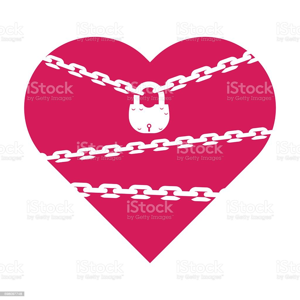 heart closed on the lock with chains vector art illustration