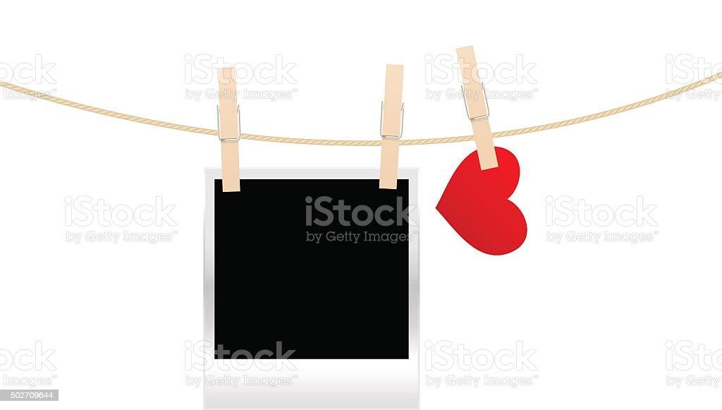 heart clothespins isolated vector art illustration