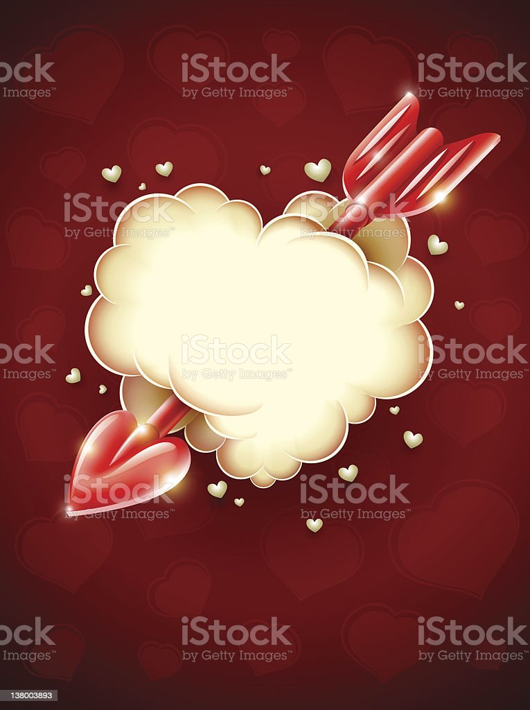 heart cloud striked by red cupid's arrow vector art illustration