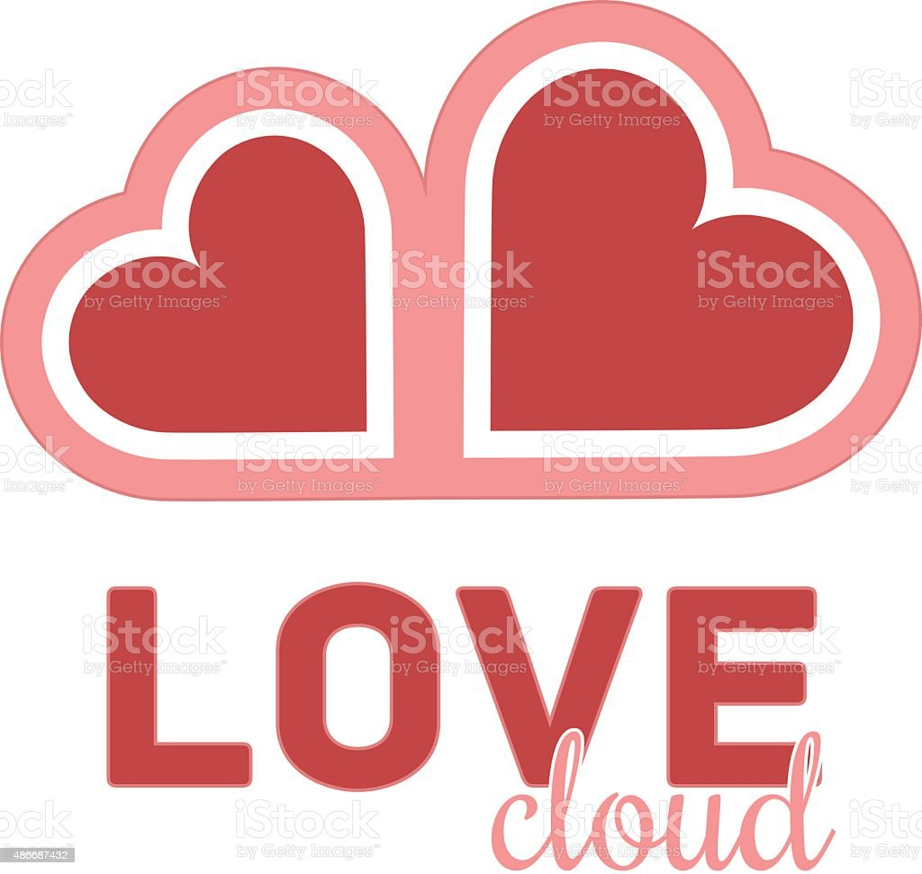 Heart cloud symbol logo icon design template. Vector sign vector art illustration