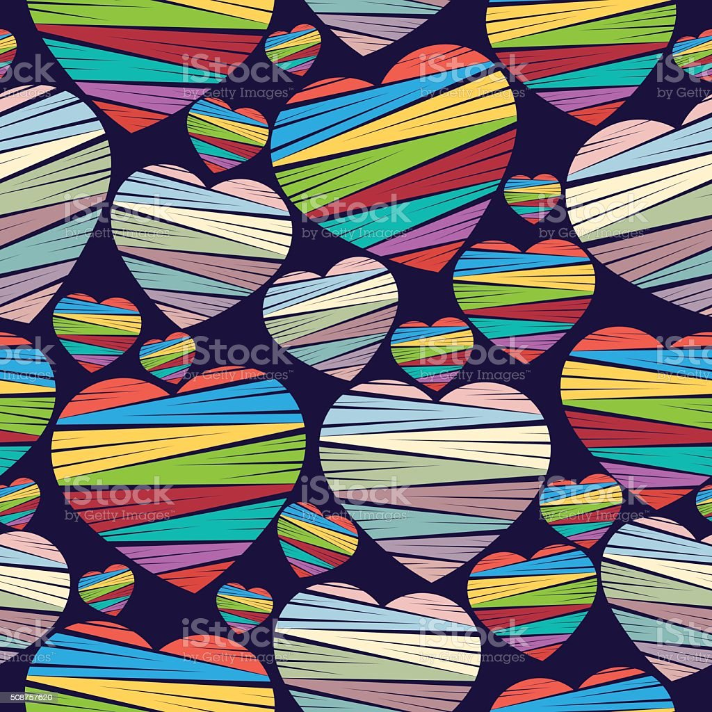 Heart colorful seamless pattern. Valentine's Day. Vector background royalty-free stock vector art