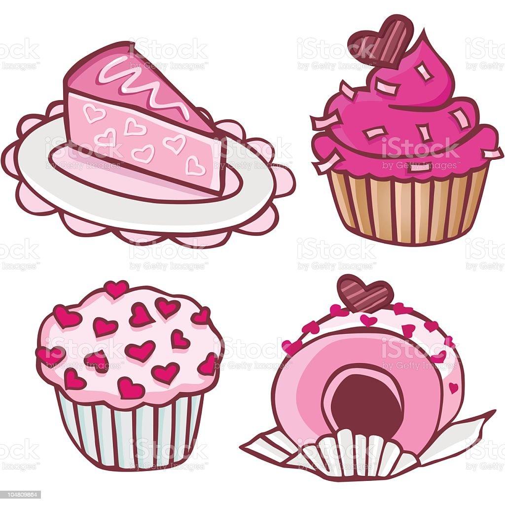 Heart Cupcakes royalty-free stock vector art