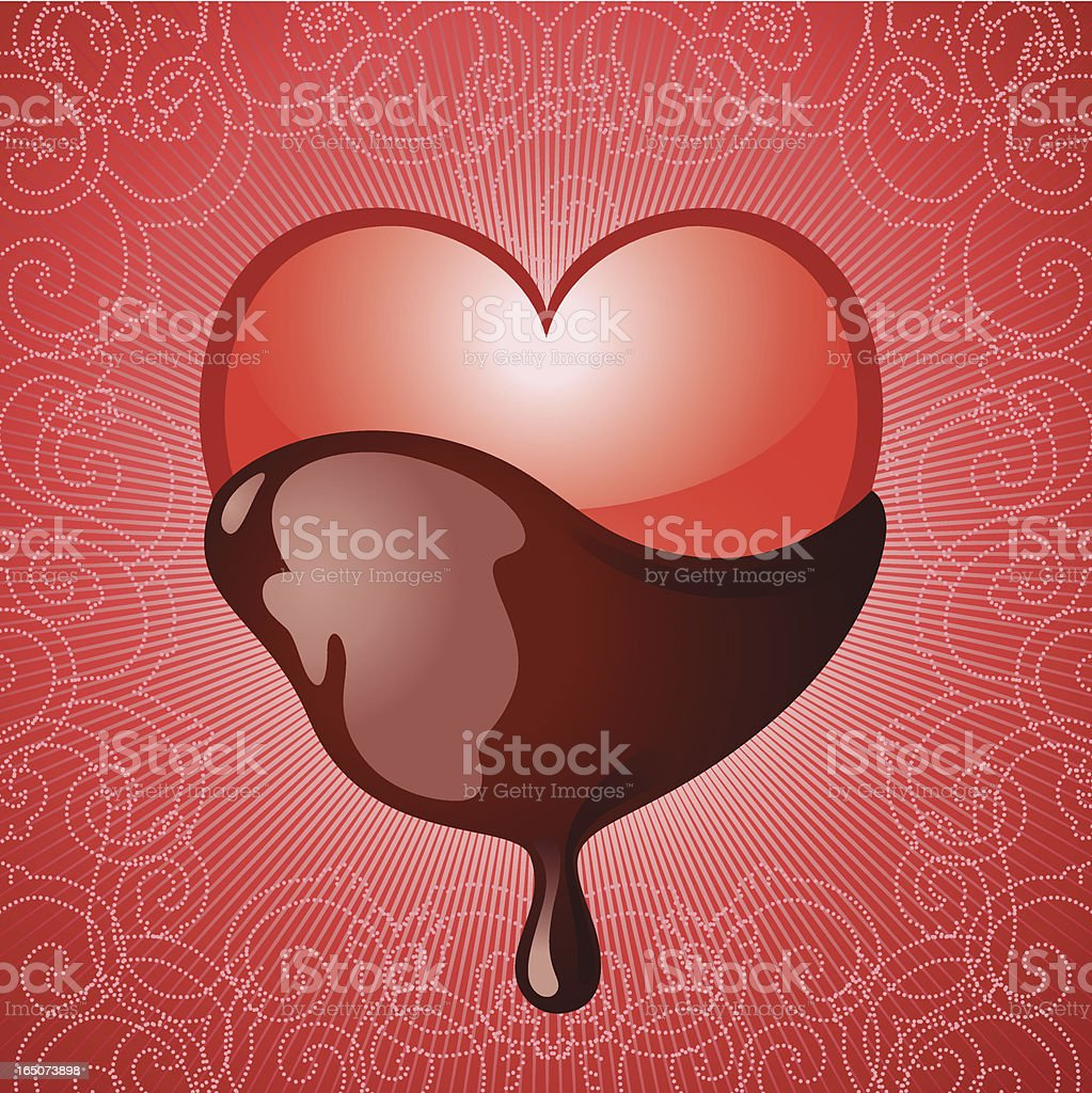 Heart Dipped in Chocolate Vector royalty-free stock vector art