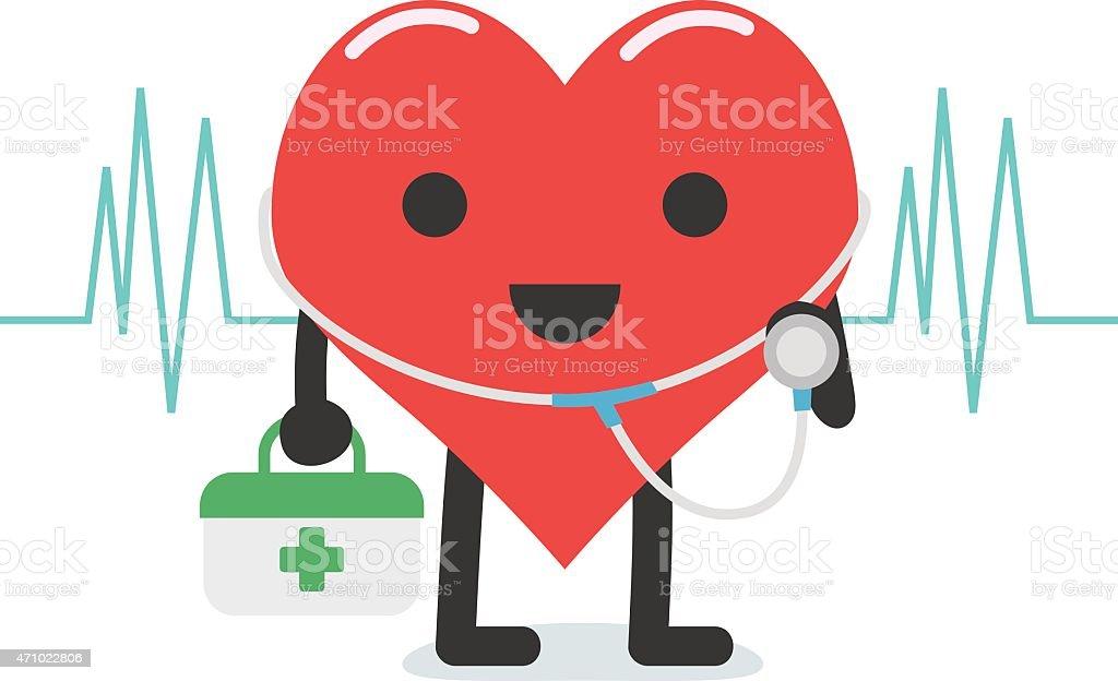 Heart doctor character cartoon vector art illustration