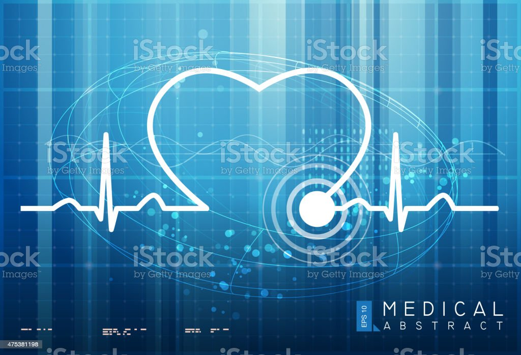 Heart ECG Abstract vector art illustration