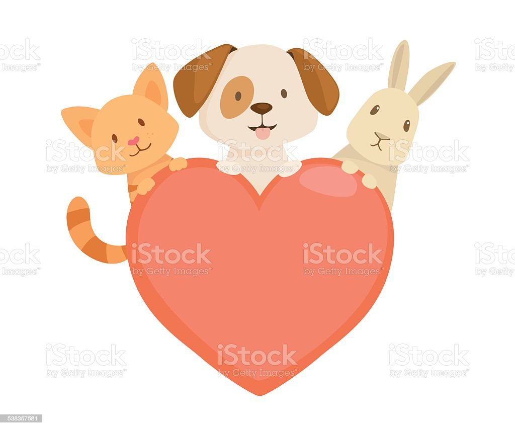 Heart emblem vector art illustration