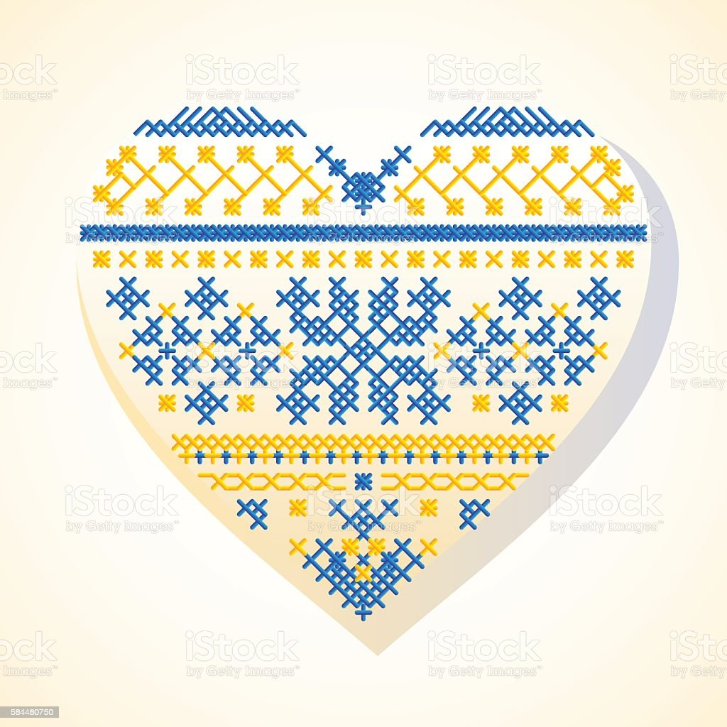 Heart ethnic embroidery vector art illustration