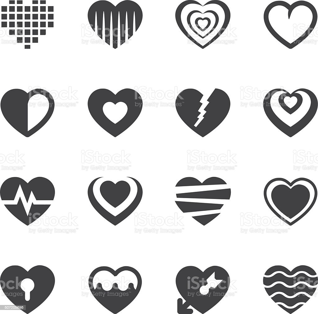 Heart feeling set 1 Silhouette Icons | EPS10 vector art illustration