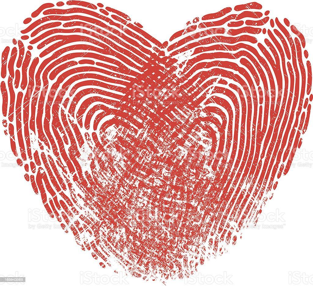 Heart Fingerprint vector art illustration