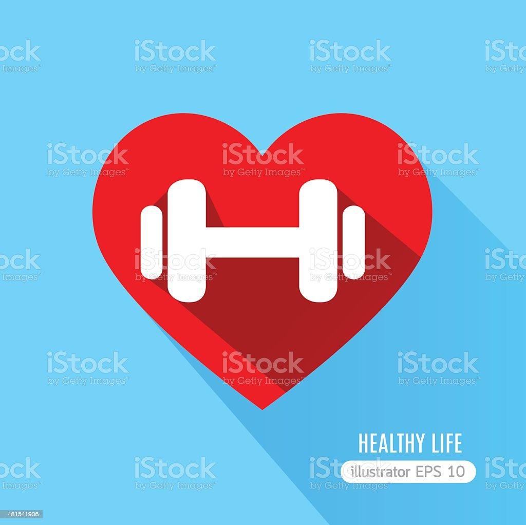 Heart fitness flat  icon vector art illustration