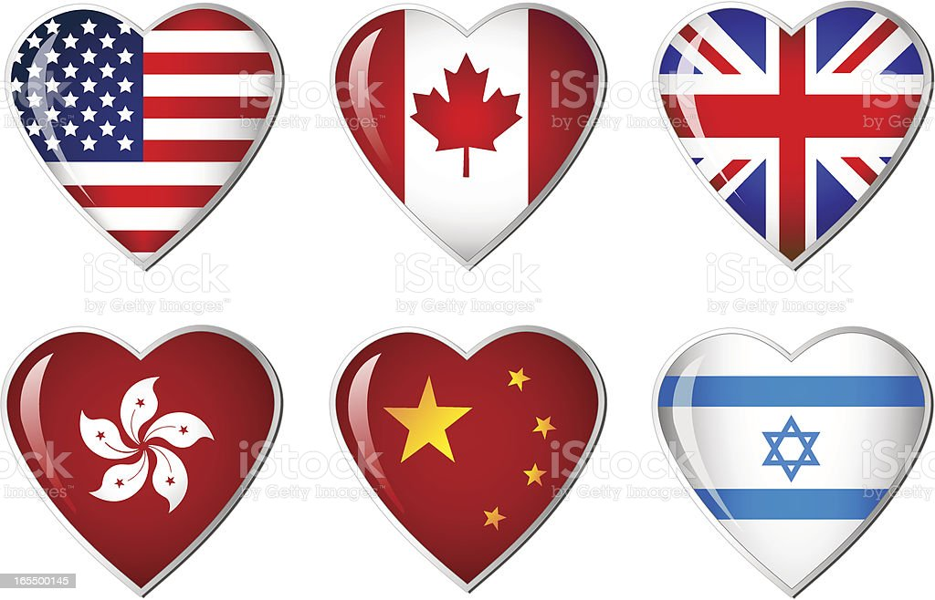 Heart Flags collection royalty-free stock vector art