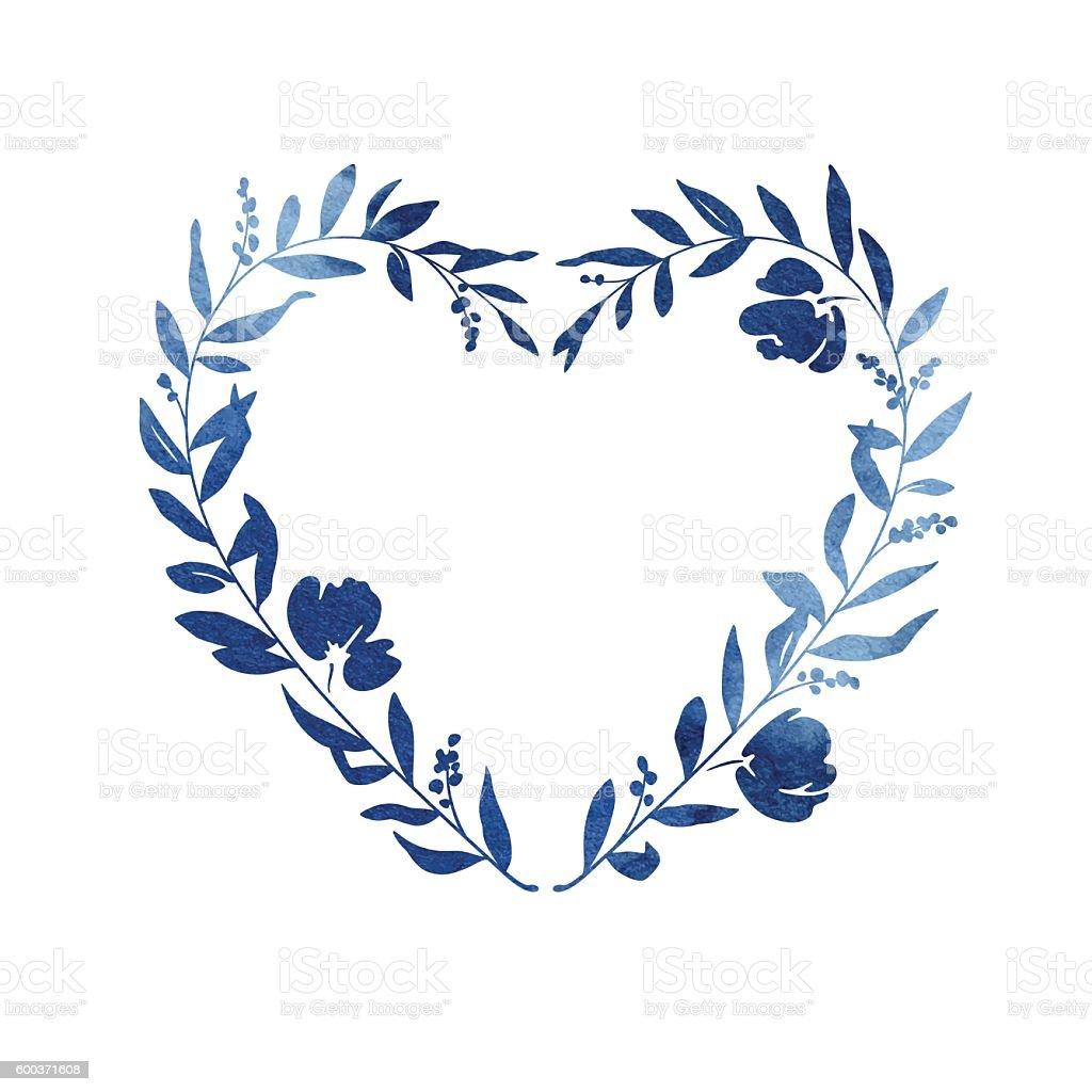 Heart Floral Wreath - Blue Watercolour vector art illustration