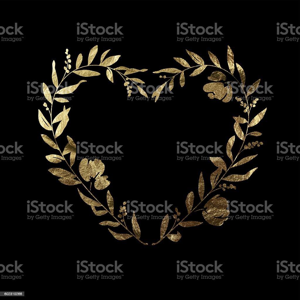 Heart Floral Wreath - Gold Leaf Metallic Foil vector art illustration