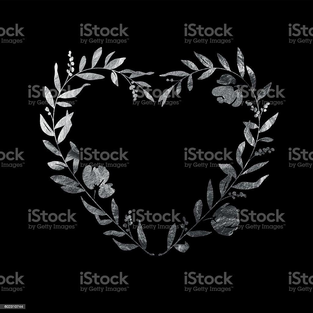 Heart Floral Wreath - Silver Leaf Metallic Foil vector art illustration