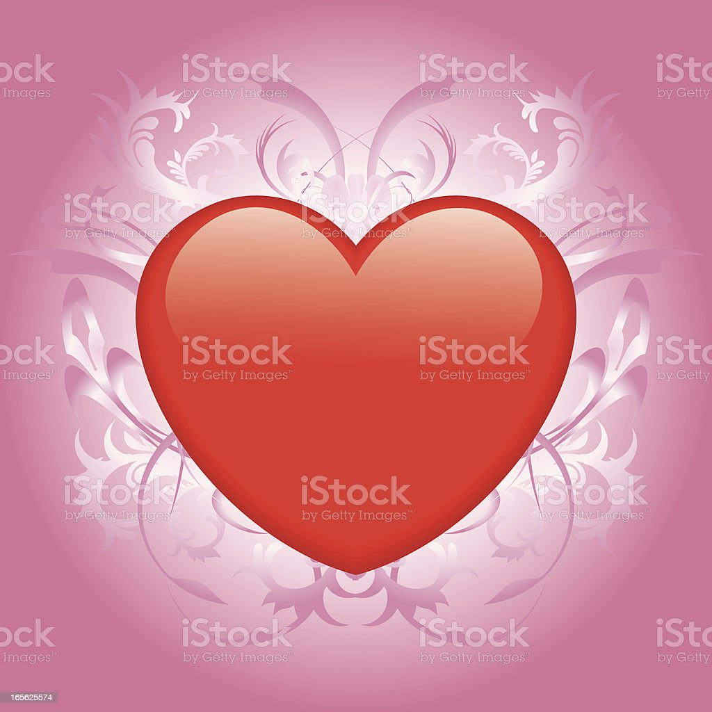 Vector illustration of a heart with floral design background to...