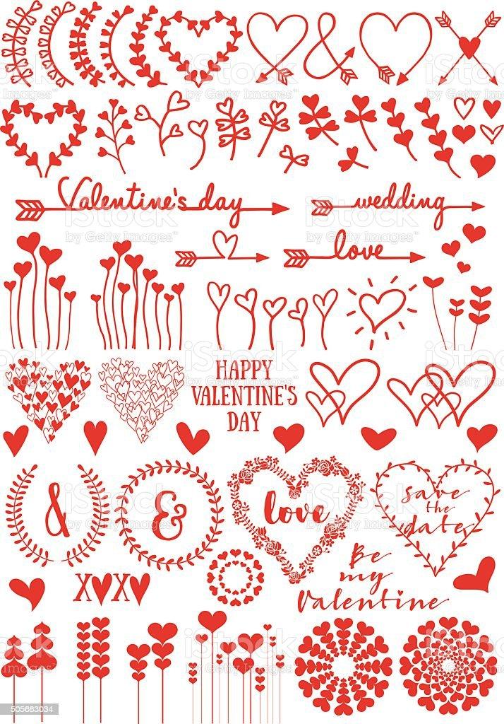 Heart flowers, vector set vector art illustration