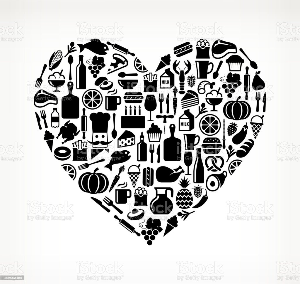 Heart on royalty free vector icons Food and Drink. The vector icons...