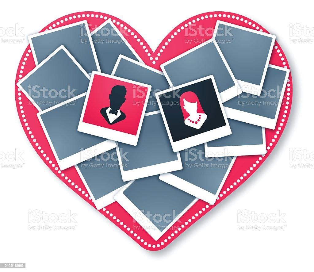 Heart Frame Wedding Love Photo Collage vector art illustration