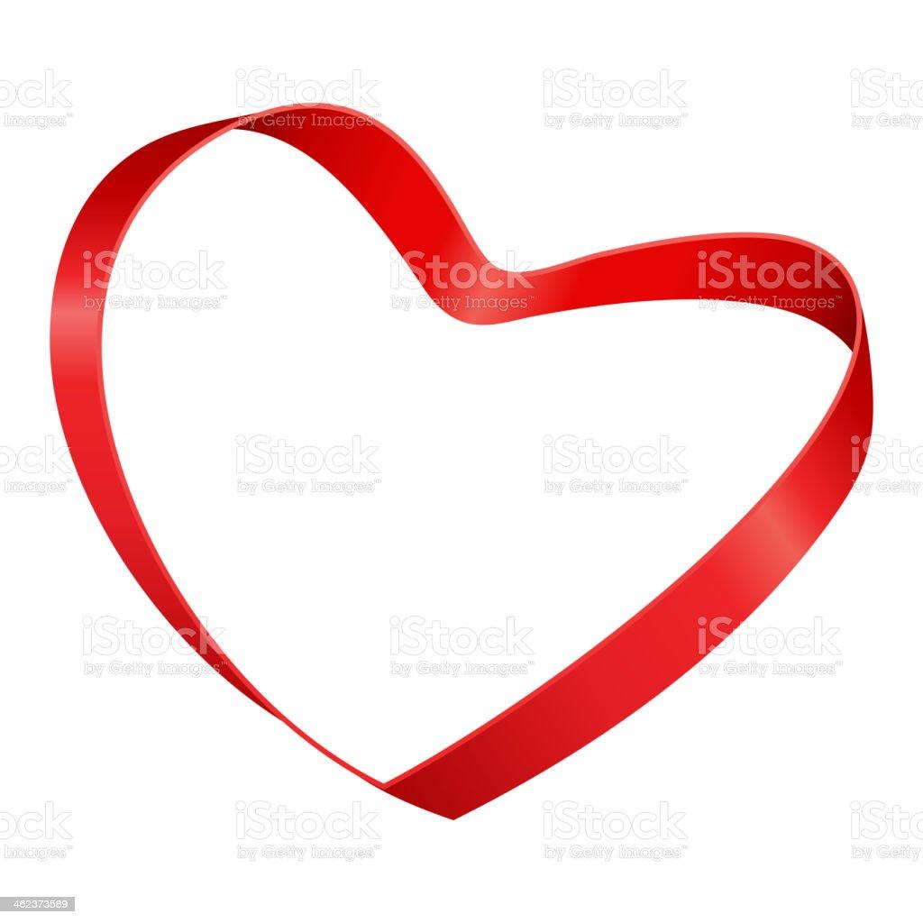 Heart from ribbon Valentine's day vector art illustration