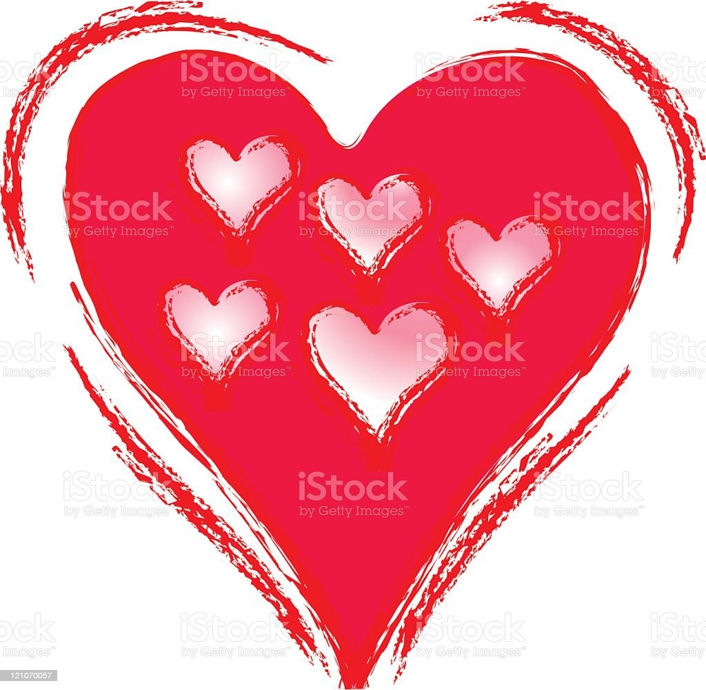 Heart full of love, containing family of smaller hearts royalty-free stock vector art