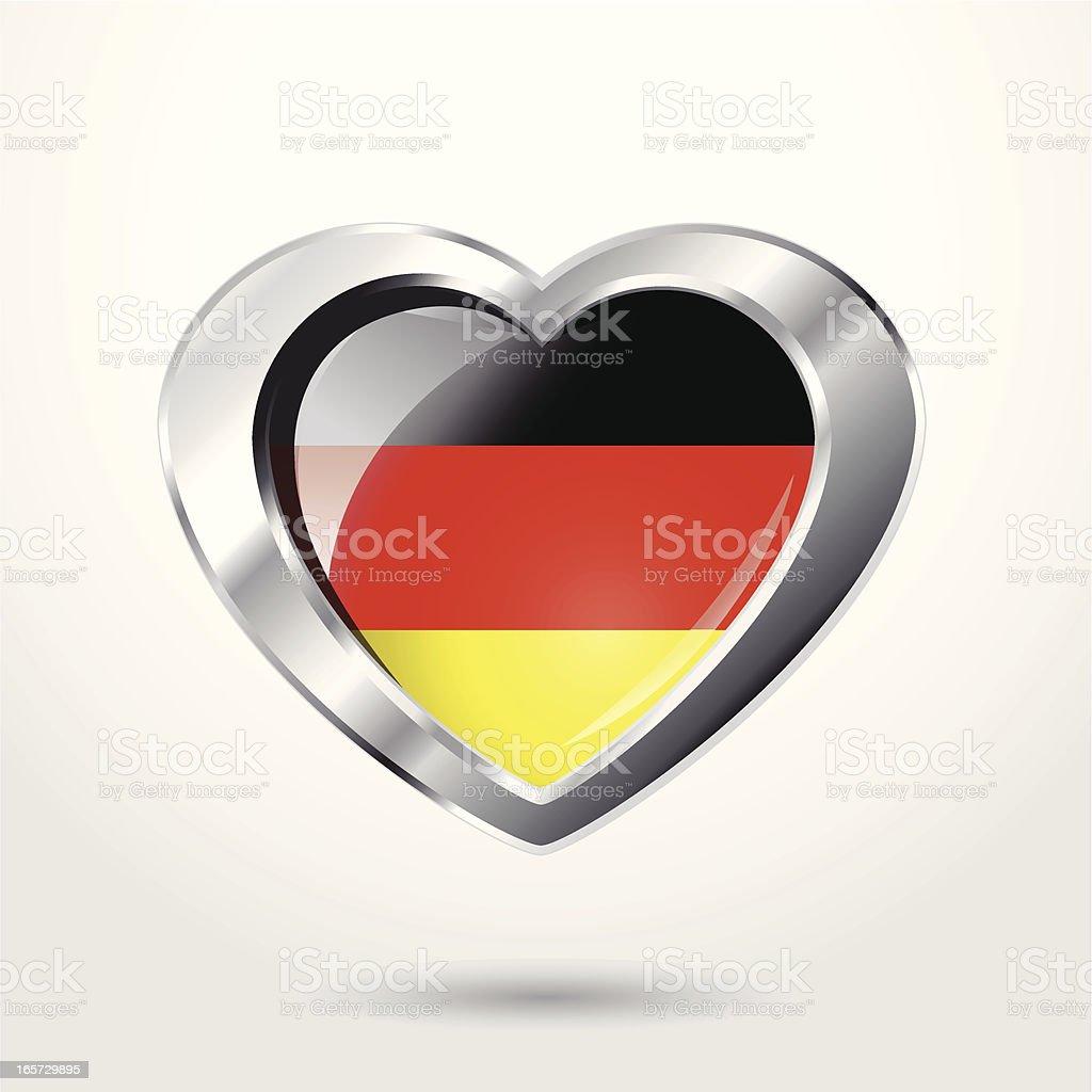 Heart Germany flag chrome. royalty-free stock vector art