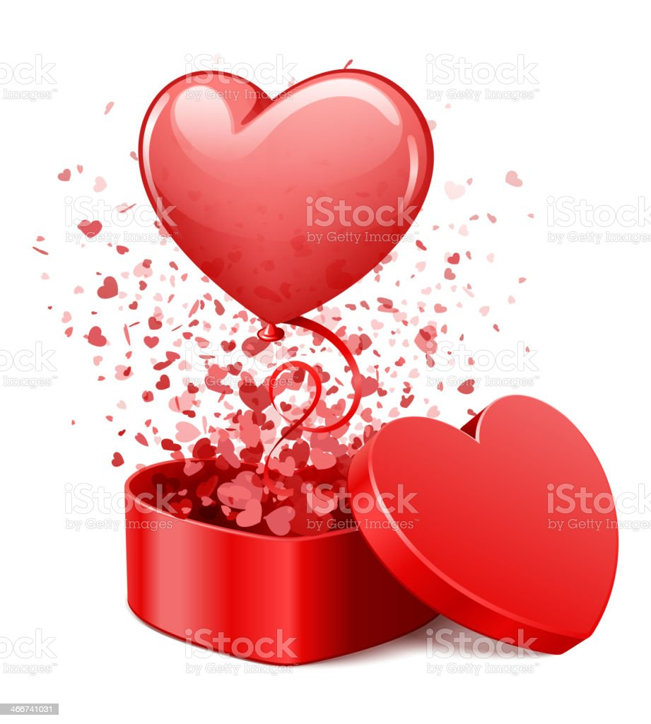 Heart gift open with fly hearts and balloon vector art illustration