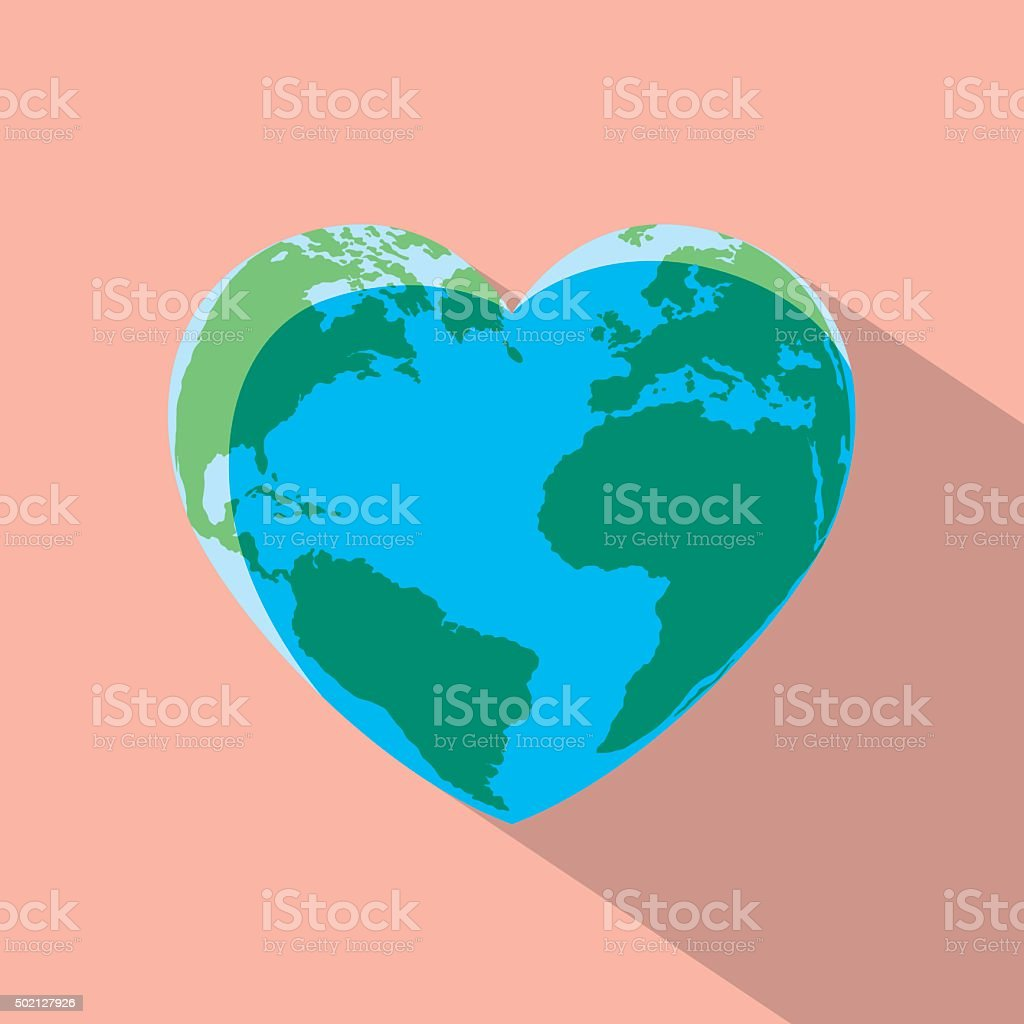 Heart Globe vector art illustration