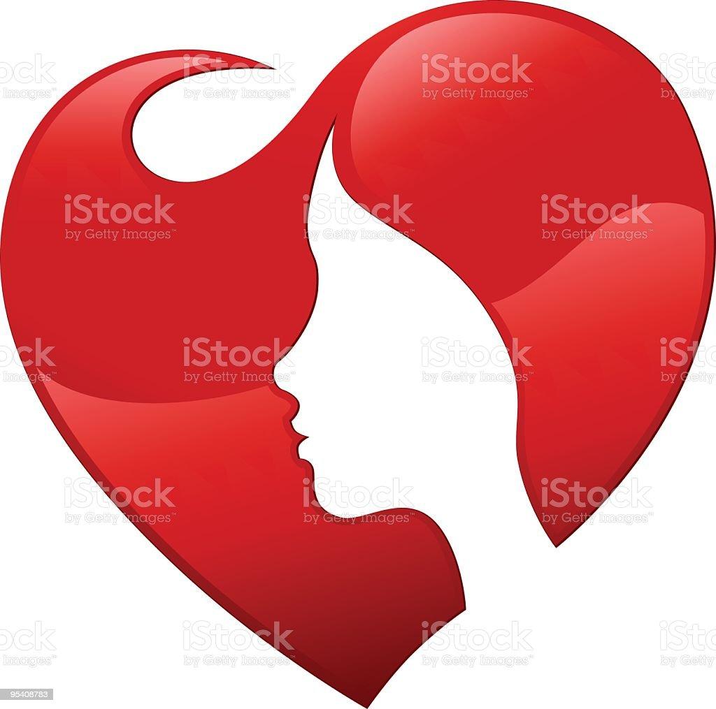 Heart hair vector art illustration