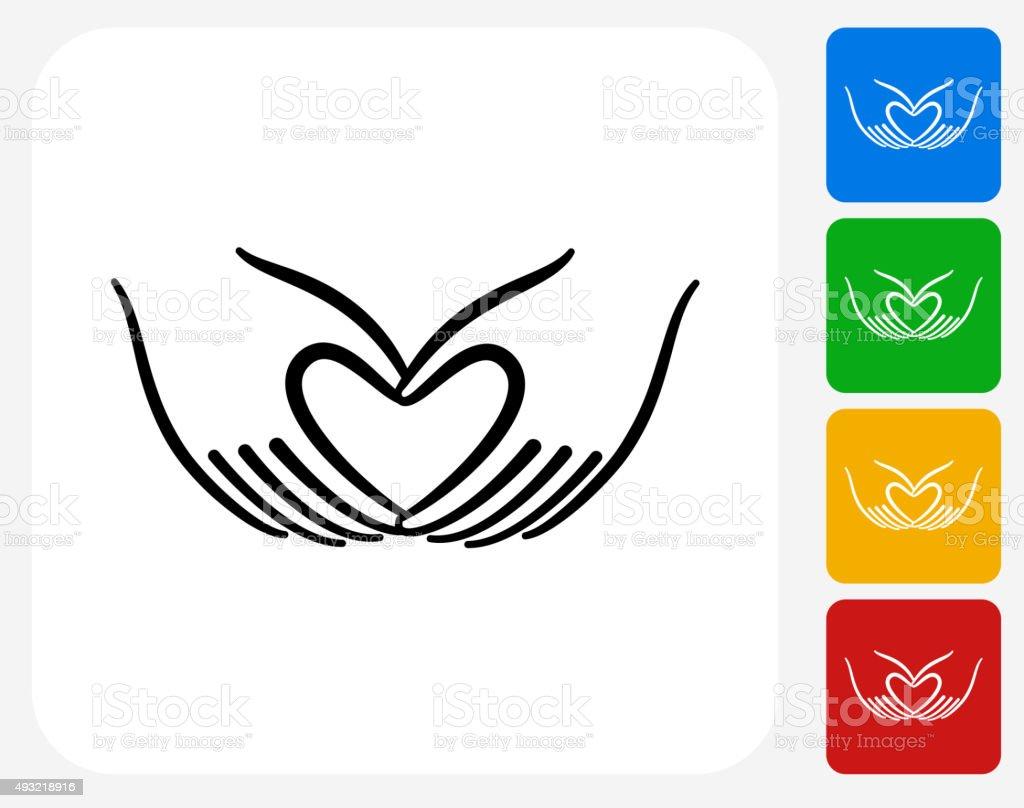 Heart Hands Icon Flat Graphic Design vector art illustration