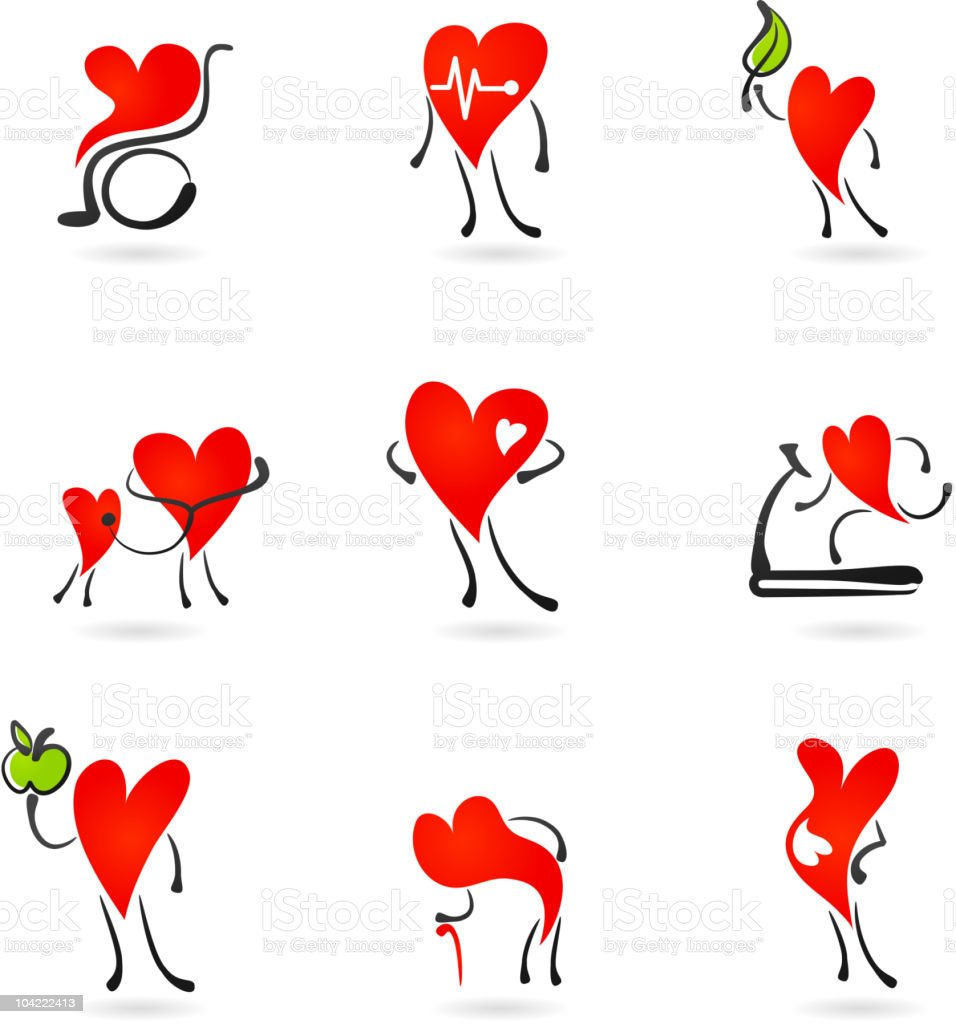 Heart health icons vector art illustration